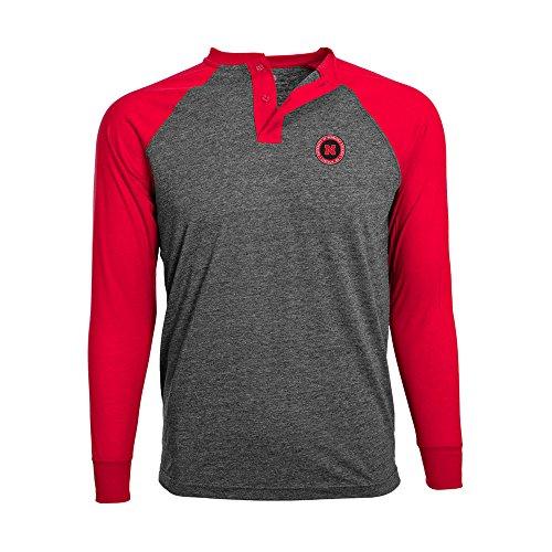 NCAA Nebraska Cornhuskers Adult Men Henderson Undergrad Henley,XL,Charcoal/Solid Red