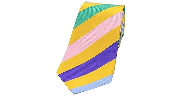 David Van Hagen Oro gran corbata de seda rayada: Amazon.es ...