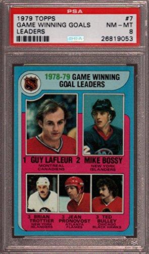 1979 TOPPS #7 GUY LAFLEUR-MIKE BOSSY-BRIAN TROTTIER PSA 8 (Mike Bossy Memorabilia)