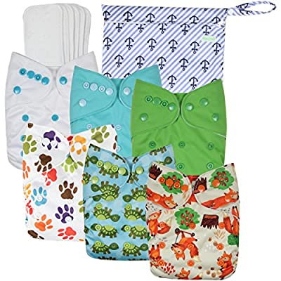 Wegreeco Washable Reusable Baby Cloth Pocket Diapers 6 pack + 6 Inserts + 1 wet bag/Muslin Receiving Blanket by Wegreeco that we recomend personally.