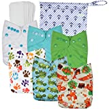 #8: Wegreeco Washable Reusable Baby Cloth Pocket Diapers 6 pack + 6 Bamboo Inserts (with 1 wet bag,Neutral Prints)