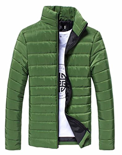 Hot Sale-UK Mens Warm Long Sleeve Casual Solid Color Stand-up Collar Front Zipper Paded Jacket Coat Blackish Green