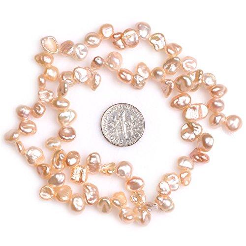 JOE FOREMAN 8x10mm Freshwater Cultured Pearl Semi Precious Gemstone Top Drilled Pink Freeform Potato Loose Beads for Jewelry Making DIY Handmade Craft Supplies 15