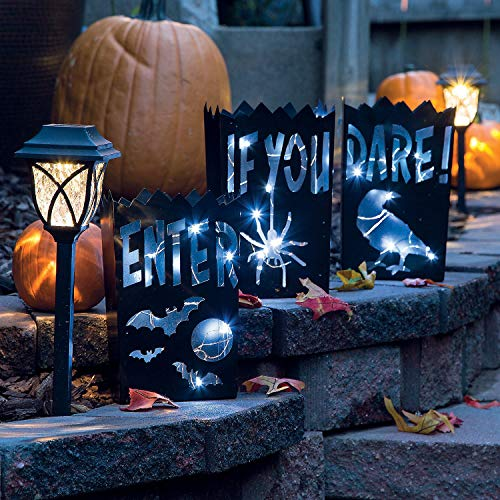Fun Express Vintage Halloween Metal Luminaries - 3 Pieces ()