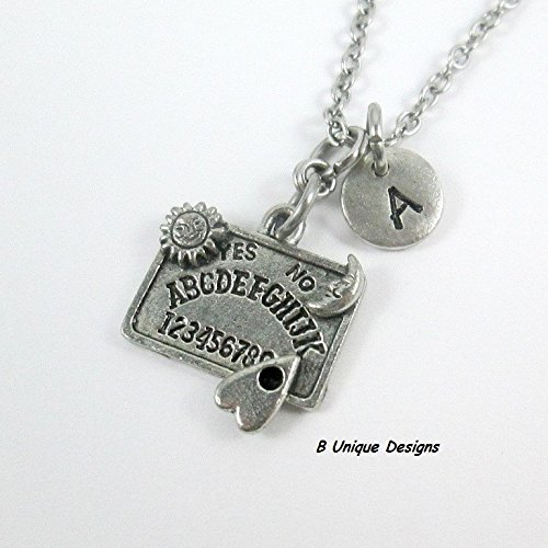 Quija Board Talk to Spirits, Ghosts Necklace Halloween Occult Personalized Initial Add Name Jewelry Antiqued Silver Black