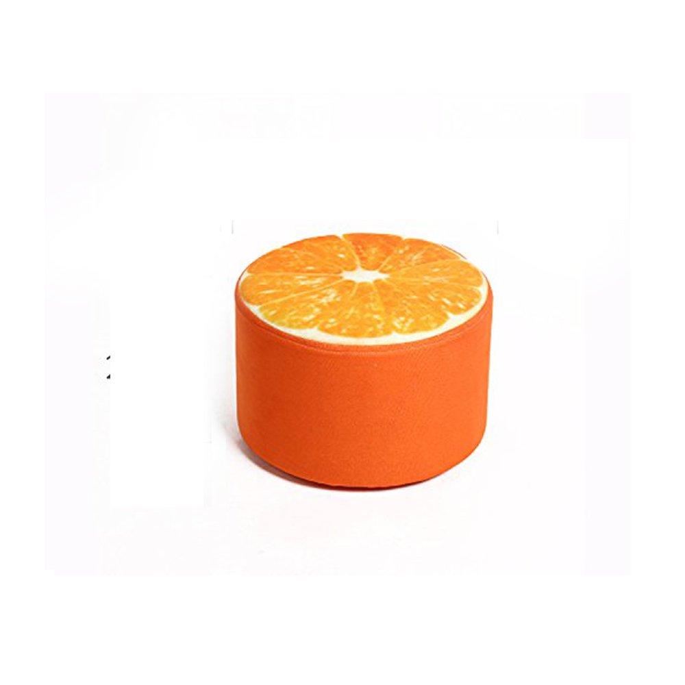 Corldif Round Ottoman Foot Stool/Linen Fabric Cover, Short Leg,Children Size(Orange)