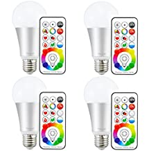 Yangcsl E26 LED Light Bulbs, 10W Color Changing Dimmable with Remote Control, Timer, 120 Color Choice, RGB + Warm White (2700K) (Pack of 4)
