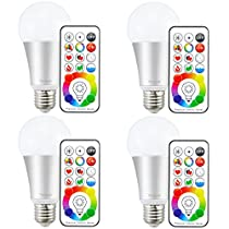 Yangcsl LED Bulb, 10W Dimmable Color Changing Light Bulbs with Remote, RGB + Warm White (2700K), 120 Color Choice, Timer, E26 Base (Pack of 4)