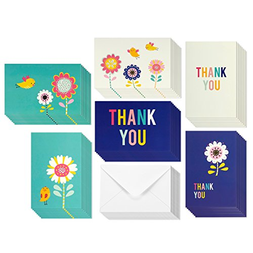 Flower Bird Thank You Greeting Cards - 6 Colorful Bright Blue Teal White Theme, Envelopes Included - 48 Pack