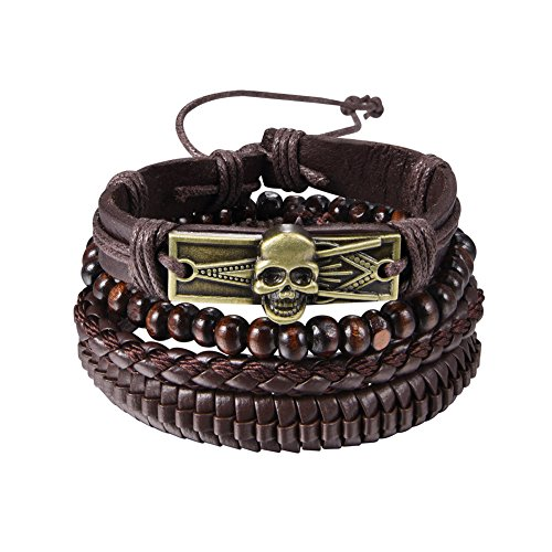 U7 4 Pcs Braided Leather Bracelets Set for Men Women Gothic Skull Design Vintage Wrap Bracelet, Adjustable (Brown)