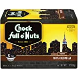 Chock Full o'Nuts Coffee, 100% Colombian Medium Roast, Single Serve Coffee Cups, 12 Count