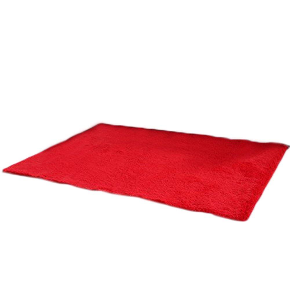 Cdet Modernas alfombras de seda sala de estar rectangular mesa de café sofá cama alfombras alfombras(Rojo)