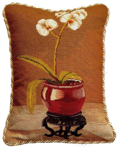 Deluxe Pillows Red Pot Orchid - 18 x 14 in. needlepoint - Pillow Orchid Needlepoint