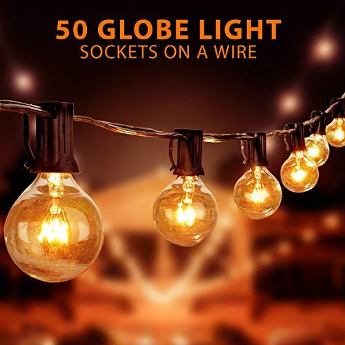 50Ft G40 Globe String Lights w/ Clear Bulbs,UL Listed,Hanging Indoor Outdoor Bistro Pergola Deckyard Backyard Tents Market Cafe Gazebo Porch Party Christmas Patio Decor, +2 Wine Bottle Cork Lights