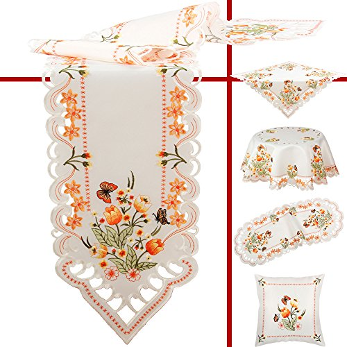 (Quinnyshop Orange Tulips and Butterflies Embroidery Table runner 12-inch-by-63-inch/ 30 x 160 cm Oval Polyester, White)