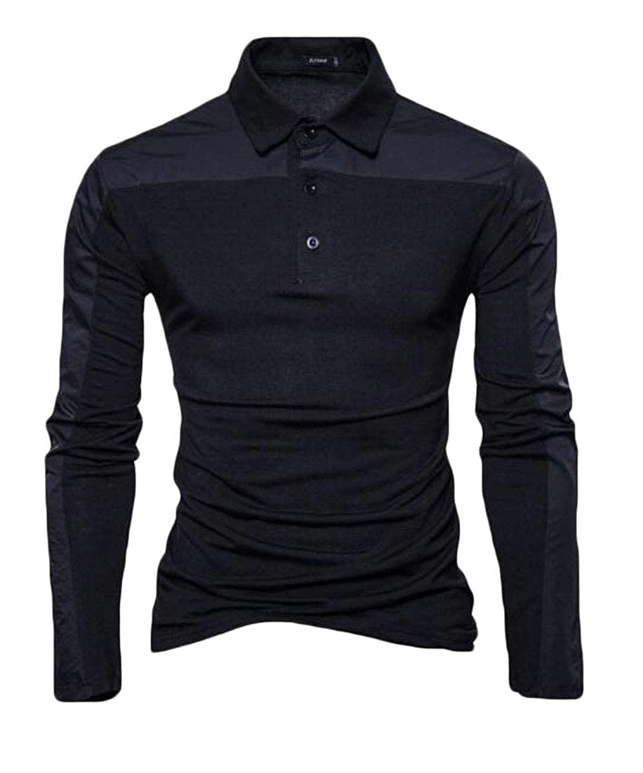 Pivaconis Mens Casual Slimming Long Sleeve Basic Polo Vogue Pure Color Shirts
