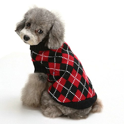 Vevins Dog Turtleneck Checked Sweater Coat Knitted Winter Clothes for Puppy Cat, Red Black Size XL by Vevins