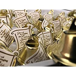 24 Gold Wedding Kissing Bells with Printed Tags Weddings Special Events Parties