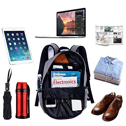 Stuo Waterproof Laptop Backpack USB Charging Port Lightweight Business Travel College Rucksack Bag Computer Backpack Men Women Student Black by Stuo (Image #3)