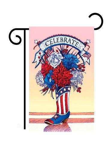 Breeze Decor - American Boots Americana - Seasonal Fourth of July Impressions Decorative Vertical Garden Flag 13