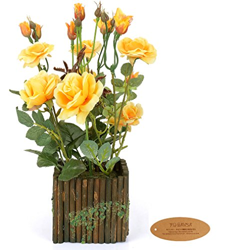 Artificial Pot Yellow (Yobansa Real Touch Artificial Flowers in Wooden Fence Pots Silk Artificial Rose Flowers Arrangement for Home and Wedding Decoration (Yellow))