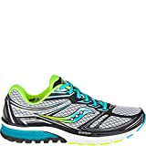 Saucony Women's Guide 9 Running Shoe, Grey/Blue/Citron, 7 W US