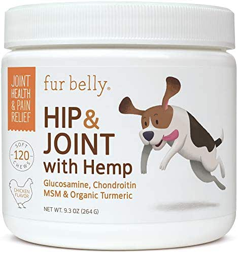 Glucosamine for Dogs - Dog Joint Supplement - Glucosamine Chondroitin for Dogs with MSM, Organic Hemp, Turmeric & Omega 3, - Joint Support & Pain Relief, 120 Soft Chew Dog Treats