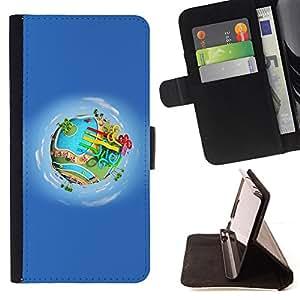BullDog Case - FOR/Samsung Galaxy Note 4 IV / - / earth cartoon amusement park water /- Monedero de cuero de la PU Llevar cubierta de la caja con el ID Credit Card Slots Flip funda de cuer