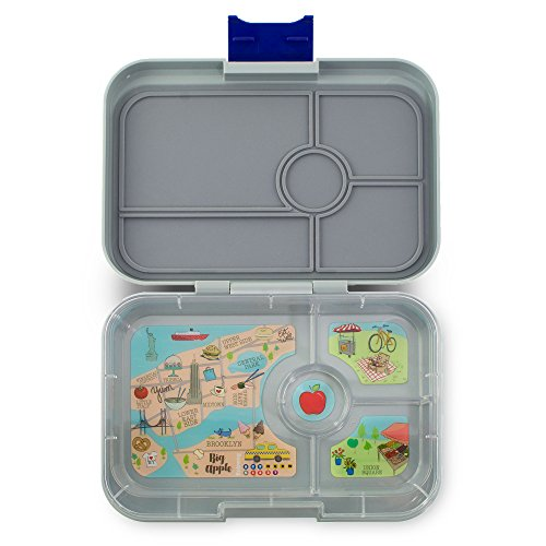 YUMBOX TAPAS Larger Size (Flat Iron Gray) Leakproof Bento lunch box with 4 compartment NYC illustrated removable food tray for Adults, Teens & Pre-teens (Compartment Four Tray)