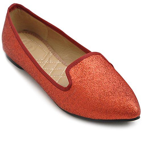 Ollio Women's Ballet Shoe Comfort Glitter Multi Color Flat (8.5 B(M) US, Red)