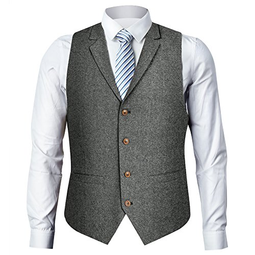 Zicac Men's Notch Lapel Casual Vest Modern Fit Dress Suit Waistcoat (M, Gray) ()