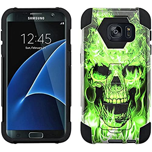 Samsung Galaxy S7 Hybrid Case Flaming Green Skull on Black 2 Piece Style Silicone Case Cover with Stand for Samsung Galaxy S7 Sales