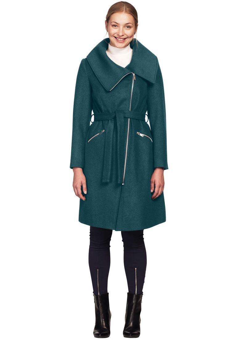 Ellos Women's Plus Size Asymmetrical Zip Belted Wool Blend Coat Midnight