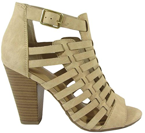 Stacked Delicious Heel Chunky Beige Buckle Caged Bootie Women's Cutout TcKcqOCF