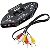DuaFire 3-Way Audio Video AV RCA Switch Selector Box Splitter For XBOX XBOX360 DVD PS2 PS3 with AV Cable