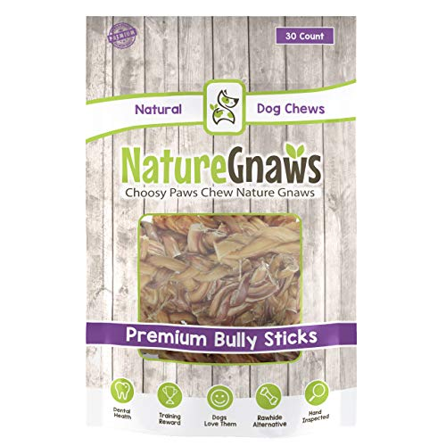 Nature Gnaws Braided Bully Stick Bites – 100 Natural Grass-Fed Beef Chews for Small Dogs