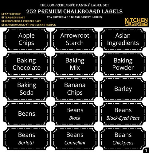 252 Preprinted 3 X 1.5 Chalkboard Pantry Labels Set w/Extra Write-on Stickers for Jars, Bottles, Containers & Canisters - Include an Exclusive Numbered Reference sheet - Waterproof & Tear-Resistant