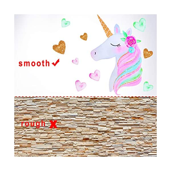 2 Pieces Large Size Unicorn Wall Decal Unicorn Decor Unicorn Wall Stickers Colorful with Heart Flower for Kids Bedroom, Nursery Room, Living Room Decor 9
