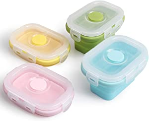 Cozihom Pack of 4, Collapsible Silicone Food Storage Container with Clip-on Lid, Stackable, Space Saving, Microwave/Fridge/Freezer/Dishwasher Safe, BPA Free, 5 Oz