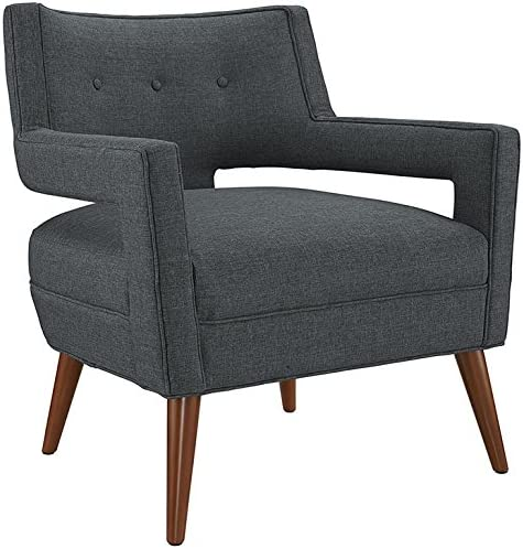 Modway Sheer Upholstered Fabric Mid-Century Modern Accent Lounge Arm Chair in Gray