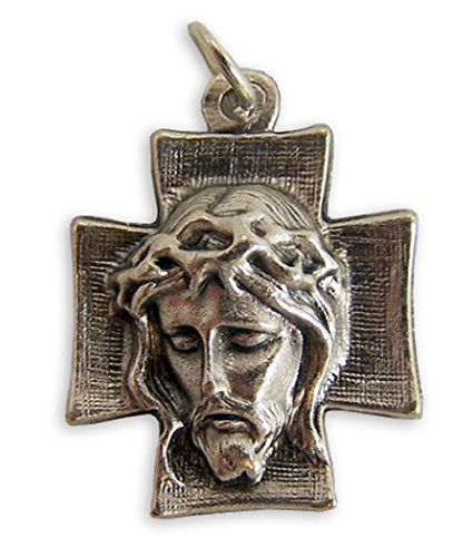 Silver Toned Base Crown of Thorns Ecce Homo Christ Cross (Jesus Christ Head)