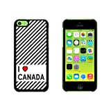 I Love Heart Canada Snap On Hard Protective Case for Apple iPhone 5C - Black
