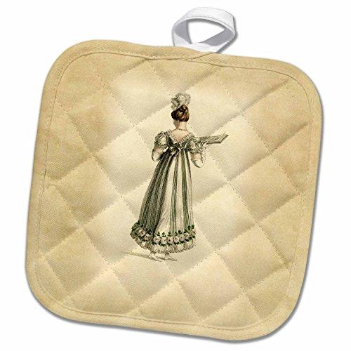 3dRose Florene - Vintage Fashion - image of lady dressed in regency period dress - 8x8 Potholder (Period Dress)