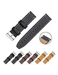 CIVO Watch Strap - Quick Release Top Genuine Grain Leather Watch Bands Smart Watches Straps 18mm 20mm 22mm (Black Leather / White Stitching, 20mm)