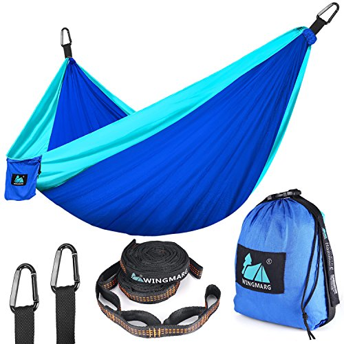 Double Camping Hammock - Lightweight Nylon Portable Hammock,Parachute Hammock and Ropes Included Straps & Steel Carabiners For Backpacking, Camping, Travel, Beach, Yard, 125