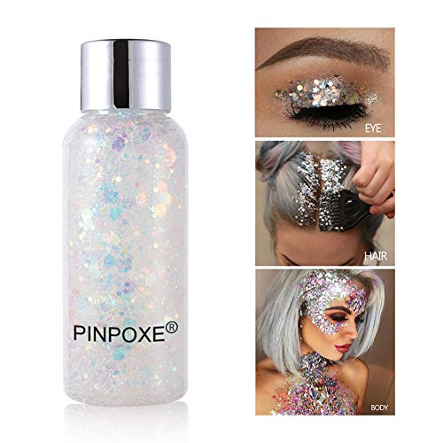 Body Glitter, Glitter Body Gel, Long Lasting Sparkling, Mermaid Scale Face Body Sequins, Holographic Chunky Glitter…