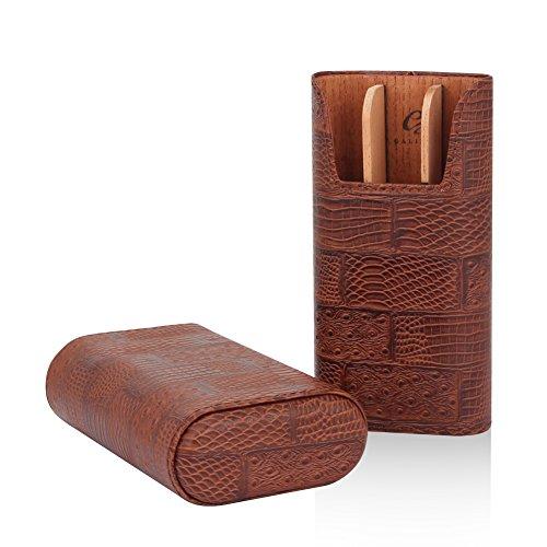 GALINER Cigar Case Genuine LeatheCedar Wood Lined Cigar Holder 60 Gauge Cigar Portable Travel Box 3 Cigars Mini Humidor (Brown) (Cigar Brown Box)