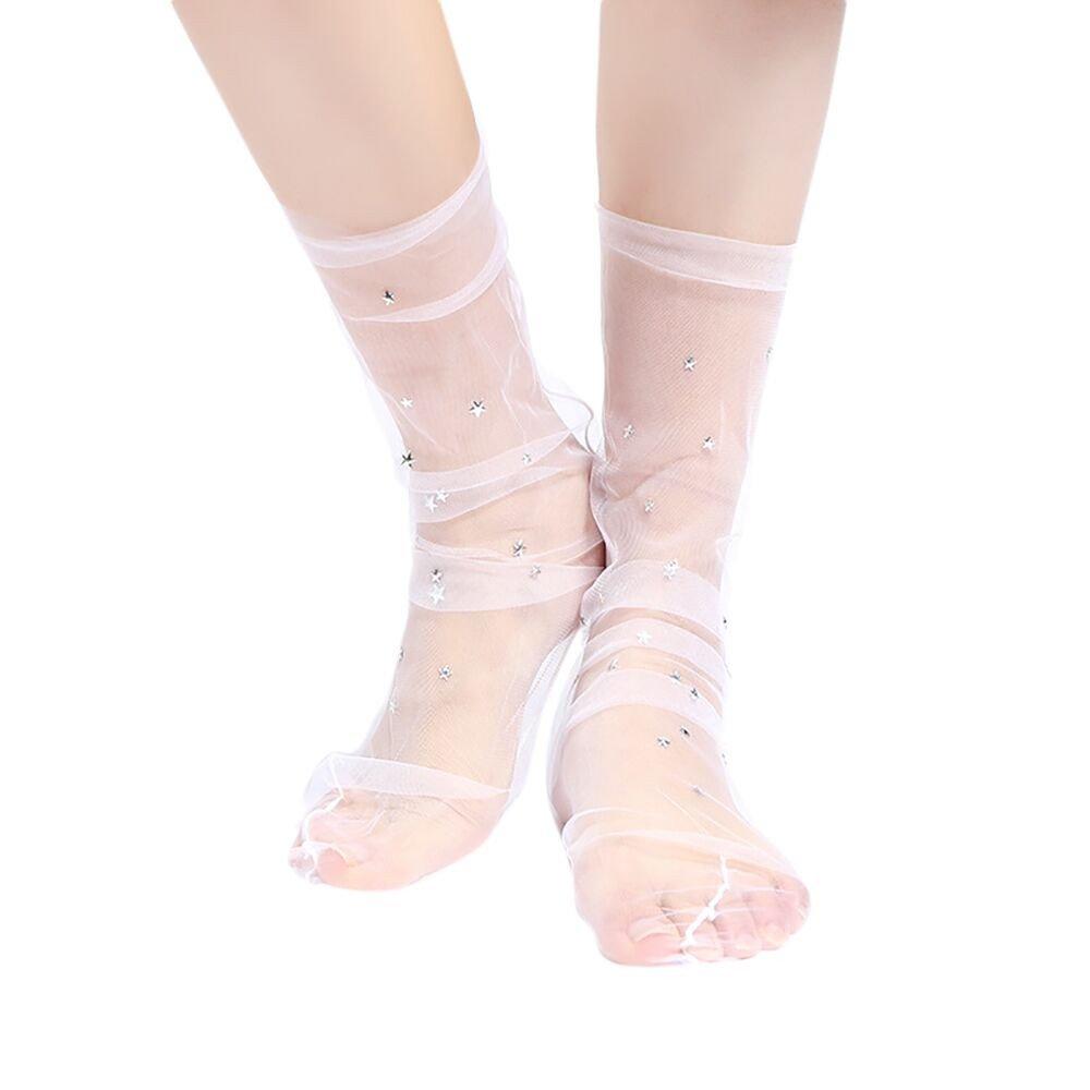 Pausseo Lady Women Fashion Glitter Star Soft Mesh Sock Transparent Elastic Sheer Ankle Socks Mesh Stars Patch Massage Heel Comfortable Deodorant Anti-Slip Skateboard Socks Socks for Women