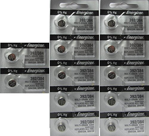 12 Energizer 392/384 Silver Oxide 0% Mercury - Silver Sr41 Oxide