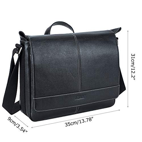 S-ZONE 14 inch Laptop Messenger Bag for Men, Microfiber Leather Flapover Briefcase Business Crossbody Bag by S-ZONE (Image #5)